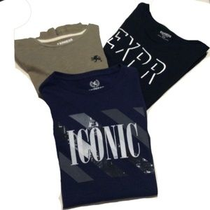 3 Express crew neck t-shirts navy, black and olive
